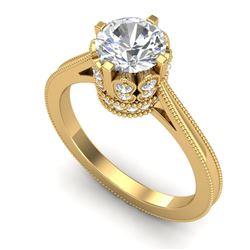 1.5 CTW VS/SI Diamond Art Deco Ring 18K Yellow Gold - REF-399T3M - 36832