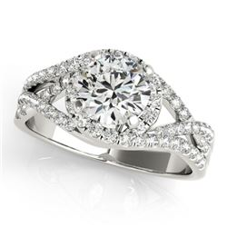 1.5 CTW Certified VS/SI Diamond Solitaire Halo Ring 18K White Gold - REF-416T9M - 26610