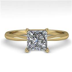 1 CTW Princess Cut VS/SI Diamond Engagement Designer Ring 14K Yellow Gold - REF-297M2H - 38462