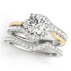 1.81 CTW Certified VS/SI Diamond Bypass Solitaire 2Pc Set 14K White & Yellow Gold - REF-398M5H - 318