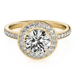 1.08 CTW Certified VS/SI Diamond Solitaire Halo Ring 18K Yellow Gold - REF-200W2F - 26987