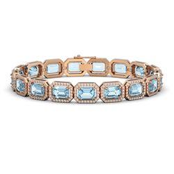 24.51 CTW Aquamarine & Diamond Halo Bracelet 10K Rose Gold - REF-401N3Y - 41403
