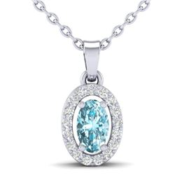 0.40 CTW Sky Blue Topaz & Micro Pave VS/SI Diamond Necklace Halo 18K White Gold - REF-25H5A - 21314
