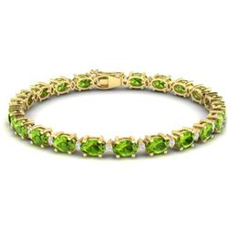 19.7 CTW Peridot & VS/SI Certified Diamond Eternity Bracelet 10K Yellow Gold - REF-118A5X - 29374
