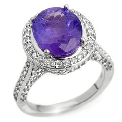 6.25 CTW Tanzanite & Diamond Ring 14K White Gold - REF-246X8T - 10493