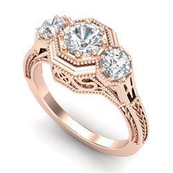 1.05 CTW VS/SI Diamond Solitaire Art Deco 3 Stone Ring 18K Rose Gold - REF-200T2M - 37101