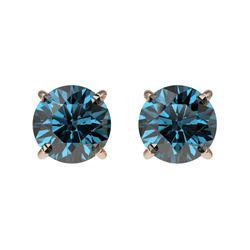 1.03 CTW Certified Intense Blue SI Diamond Solitaire Stud Earrings 10K Rose Gold - REF-87T2M - 36591