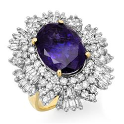 13.25 CTW Tanzanite & Diamond Ring 14K Yellow Gold - REF-578F4N - 13425