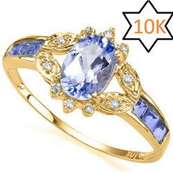 **** FEATURE ITEM **** RING - 1.00 CT TANZANITE & DIAMOND IN10KT SOLID YELLOW GOLD - INCLUDES CERTIF