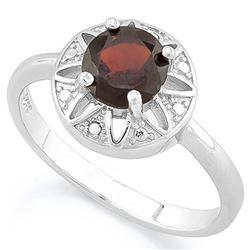 RING - 1 CARAT GARNET & DIAMOND IN 925 STERLING SILVER SETTING - SZ 8 - RETAIL ESTIMATE $450