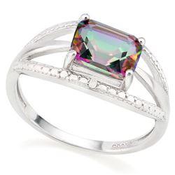 *RING - 1 1/3 CARAT MYSTIC GEMSTONE & GENUINE DIAMONDS IN 925 STERLING SILVER OPEN DESIGNED SETTING