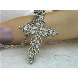 NECKLACE - RHINESTONE CROSS WITH CHAIN