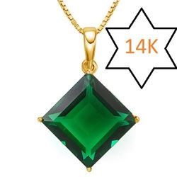 **** FEATURE ITEM **** PENDANT - 4 1/2 CT RUSSIAN EMERALD IN 14KT SOLID YELLOW GOLD - INCLUDES CERTI