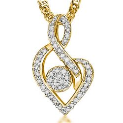 **** FEATURE ITEM **** PENDANT - 1/4 CT DIAMOND IN 18K YELLOW GOLD OVER STERLING SILVER - INCLUDES C