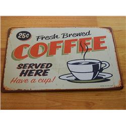 VINTAGE DESIGNED METAL SIGN - FRESH COFFEE - OFF WHITE