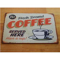 VINTAGE DESIGNED METAL SIGN - FRESH COFFEE - OFF WHITE