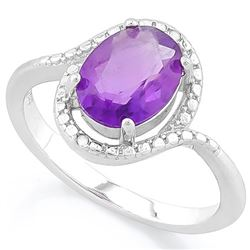 *RING - 1 3/5 CARAT AMETHYST & GENUINE DIAMONDS IN 925 STERLING SILVER SETTING - SZ 8 - INCLUDES CER