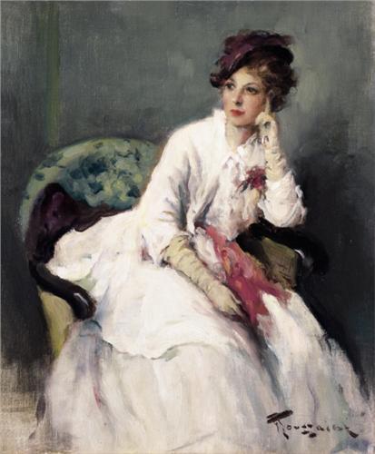 Witte Cocktailjurk.Fernand Toussaint Zittende Dame In Witte Jurk La Robe Blanche