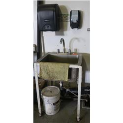 "Stainless Steel Handwashing Sink, Towel Dispenser & Soap Dispenser 25"" x 22"" x 36"" H"