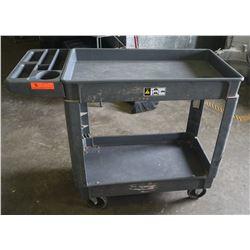 "Heavy Duty Plastic Rolling Utility Cart 40"" x 17"" x 33.5"" H"