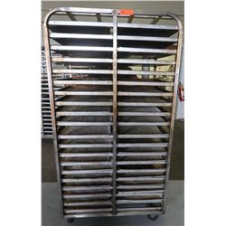 Large Speed Rack 28  x 36  x 68  H with Approx 40 Full Size Sheet Pans 26  x 18 W