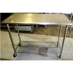 Stainless Steel Rolling Prep Table w/ Wire Rack