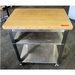 Small Butcher Block Rolling Prep Table w/ Metal Undershelves 30  x 20  x 36  H