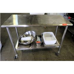 Trinity Stainless Steel Rolling Prep Table (contents of shelf not included)
