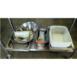 "Various Kitchen Pots and Pans: Approx 5 Hotel Pans, 3 Large Bowls, Plastic Conatiners and 1 6"" 1/3 P"