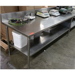 "Extra Long Stainless Steel Prep Table w/ Backsplash & Undershelf 236"" x 30"" x 32.5"" H"