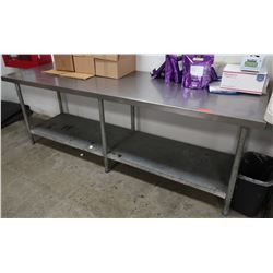 "Long Stainless Steel Prep Table w/ Undershelf 95"" x 30"" x 34"" H"