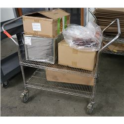 "Stainless Steel Double-Handle Rolling Cart (Contents not included) 35"" x 24"" x 40"" H"