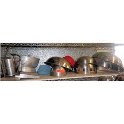 Various Metal Mixing Bowls, Colanders, Sifters, etc.