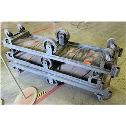 "Qty 3 Wooden Platform Dollys w/ Metal Frame 63"" x 16"" x 10"" H"