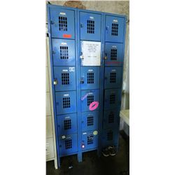 "Qty 3 Blue Vertical Lockers Units 36"" x 15"" x 78"" H"