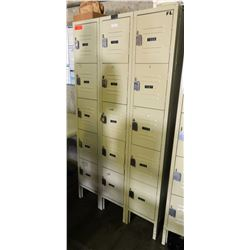 "Qty 3 Tan Vertical Lockers Units 36"" x 15"" x 66"" H"