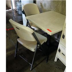 "Plastic Folding Card Table 29"" x 29"" x 29"" & 2 Folding Plastic Chairs"