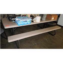 "Plastic Picnic Table 91"" x 56"" x 29"" H"