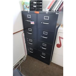 Qty 2 Tall Black 4-Drawer Vertical Filing Cabinets