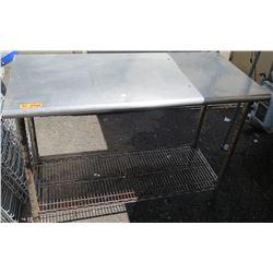 "Stainless Steel Work Table w/ Wire Undershelf,  Approx 50"" x 24"""