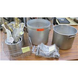 Assorted Kitchen Items - 2 Stock Pots, Wire Basket, Slicer, Sauce Pumps, Tools