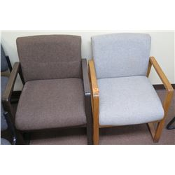 Qty 2 Office Reception Chairs (Dark Brown & Lt Blue)