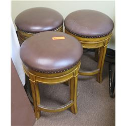 "Qty 3 Wood and ""Leather"" Round Bar Stools"