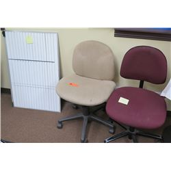 2 Rolling Office Chairs (1 Red, 1 Beige) & Dry Erase White Board