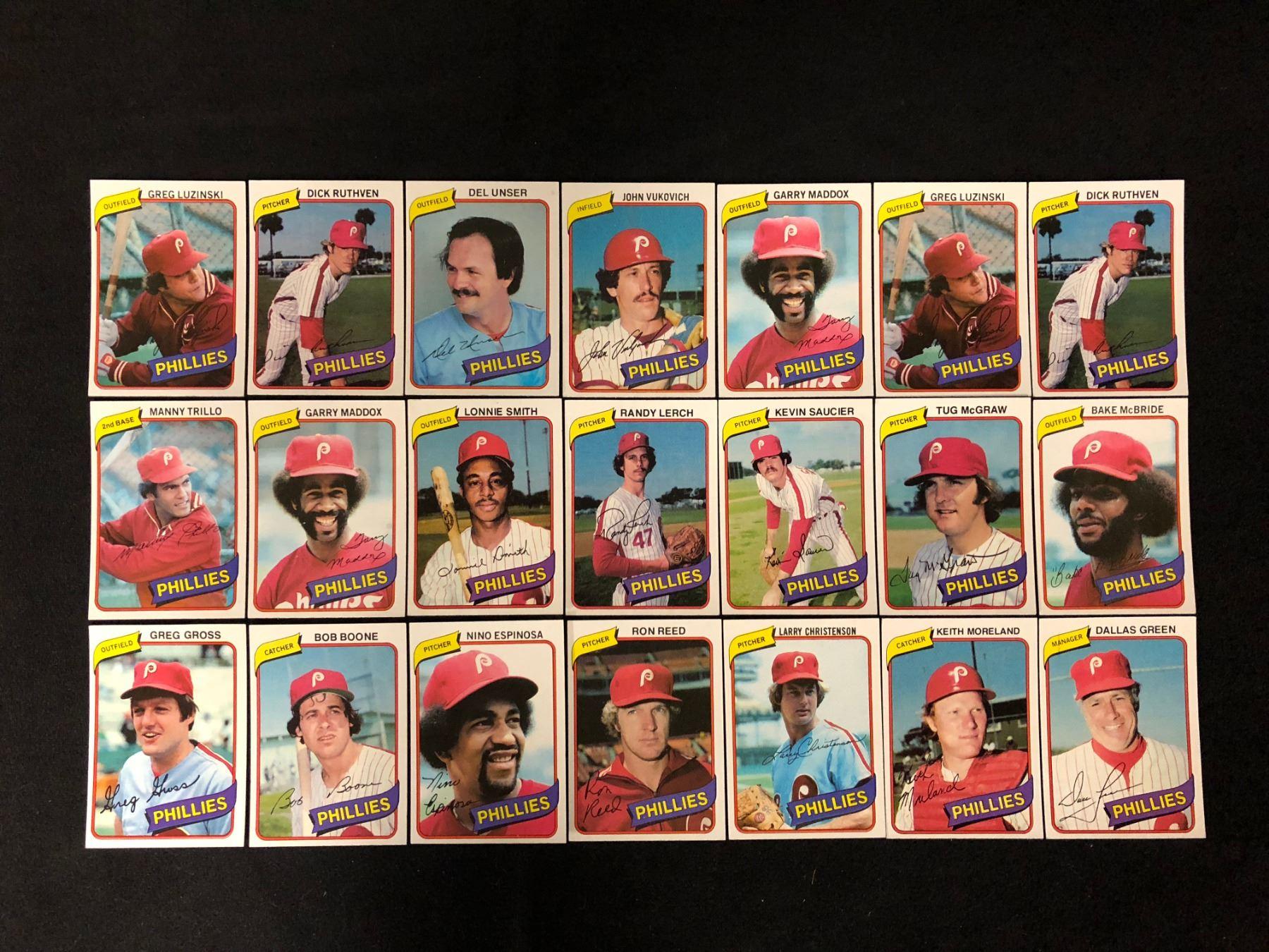1980 Topps Burger King Philadelphia Phillies Baseball Team Card Lot