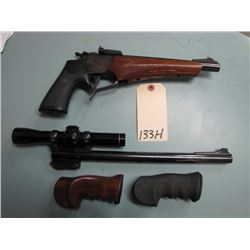"RESTRICTED:  TC Contender 2 Barrels 3 Hand Grips Leupold M8-2X Scope 7mm T/C U 10"" Barrel & 357 Herr"