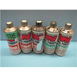 NO SHIPPINGlot of five cans various quantities powder