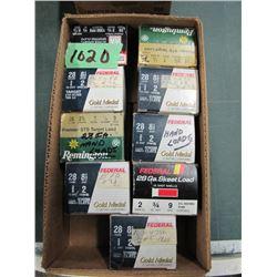 lot of nine boxes 28 gauge hand loads
