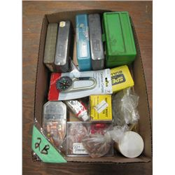 box with bullets empty ammo cases compass Etc