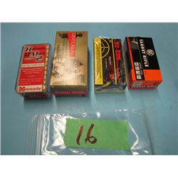lot of four boxes ammunition 17 HM2, 5 mm, and 22 long rifle